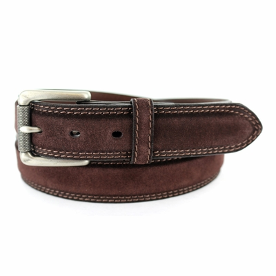 "3238 FULLERTON Suede Roller Buckle Full Grain Leather Belt - 1 3/8"" wide BROWN"