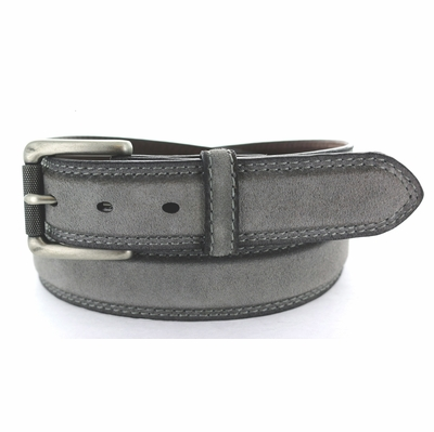 "3238 Fullerton Suede Roller Buckle Full Grain Leather Belt - 1 3/8"" wide GRAY"