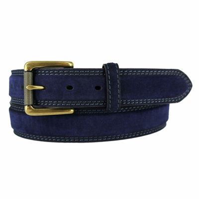"3239 Fullerton Suede Roller Brass Buckle Full Grain Leather Belt - 1 3/8"" NAVY"