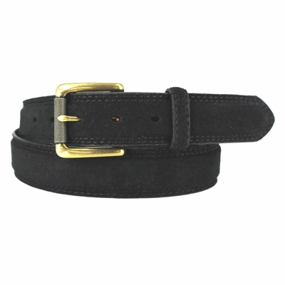 "3239 FULLERTON Suede Roller Brass Buckle Full Grain Leather Belt - 1 3/8"" wide BLACK"
