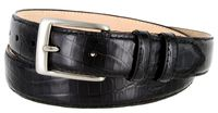 "3244 Genuine Italian Calfskin Alligator Embossed Leather Dress Belt Brushed Nickel Plated Buckle - 1 1/4"" wide BLACK"