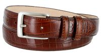"3244 Genuine Italian Calfskin Alligator Embossed Leather Dress Belt Brushed Nickel Plated Buckle - 1 1/4"" Wide - BROWN"