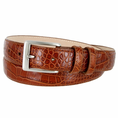 "3244 Genuine Italian Calfskin Alligator Embossed Leather Dress Belt Brushed Nickel Plated Buckle - 1 1/4"" Wide COGNAC"