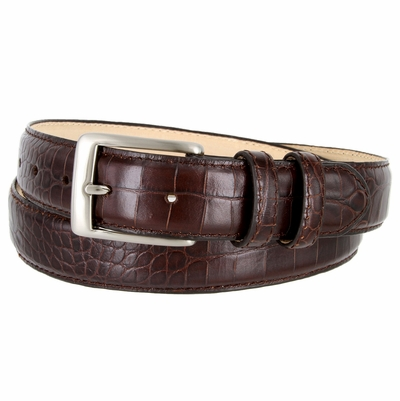 "3244XL Genuine Italian Calfskin Alligator Embossed Leather Dress Belt Brushed Nickel Plated Buckle - 1 1/4"" wide"