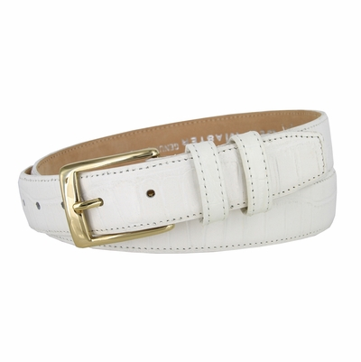 "3249 Genuine Italian Calfskin Alligator Embossed Leather Dress Belt Gold Plated Buckle - 1 1/4"" Wide WHITE"