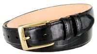 "3249 Genuine Italian Calfskin Alligator Embossed Leather Dress Belt Gold Plated Buckle - 1 1/4"" Wide BLACK"