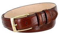 "3249 Genuine Italian Calfskin Alligator Embossed Leather Dress Belt Gold Plated Buckle - BROWN 1 1/4"" wide"