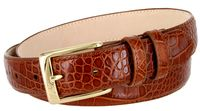 "3249 Genuine Italian Calfskin Alligator Embossed Leather Dress Belt Gold Plated Buckle - COGNAC 1 1/4"" wide"