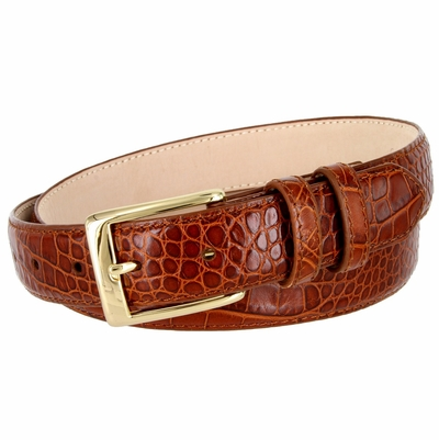 "3249 Genuine Italian Calfskin Alligator Embossed Leather Dress Belt Gold Plated Buckle - 1 1/4"" Wide COGNAC"