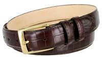 "3249 Genuine Italian Calfskin Alligator Embossed Leather Dress Belt Gold Plated Buckle - 1 1/4"" Wide WINE"