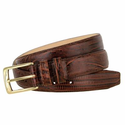 "3249 Genuine Italian Calfskin Lizard Embossed Leather Dress Belt Gold Plated Buckle - 1 1/4"" Wide BROWN"
