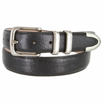 "3252 Genuine Italian Calfskin Alligator Embossed Leather Office Dress Belt  1-1/4"" Wide - Black"