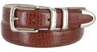 "3252 Genuine Italian Calfskin Alligator Embossed Leather Office Dress Belt  1-1/4"" Wide - Brown"