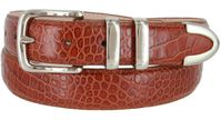 "3252 Genuine Italian Calfskin Alligator Embossed Leather Office Dress Belt  1-1/4"" Wide - Cognac"