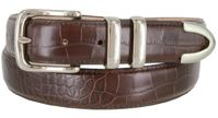 "3252 Genuine Italian Calfskin Alligator Embossed Leather Office Dress Belt  1-1/4"" Wide - Wine"