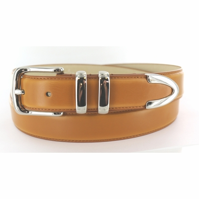 "3254 Nickel Plated Dress Leather Belt - 1 1/4"" wide TAN"