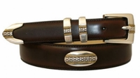 3265 Italian Designer Calfskin Leather Concho Belt
