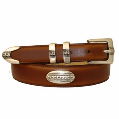 3266 Italian Designer Smooth Calfskin Leather Concho Belt