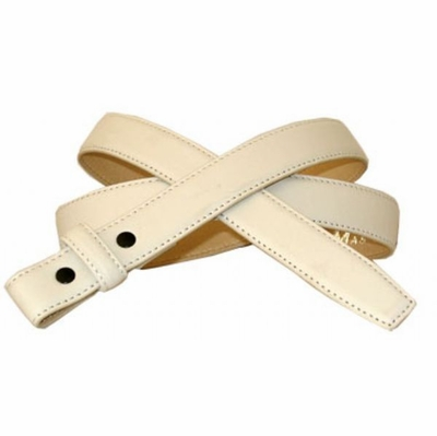 "3273 White Smooth Leather Belt Strap - 1"" Wide NO HOLES"