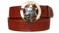 "3280 Sheriff Basket-weave Full Grain Leather Belt - 1 1/2"" wide"