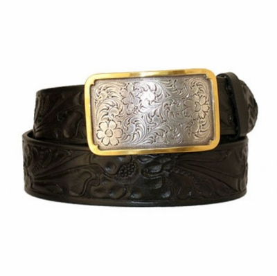 "3281 Floral Full Grain Leather Casual Belt - 1 1/2"" wide"