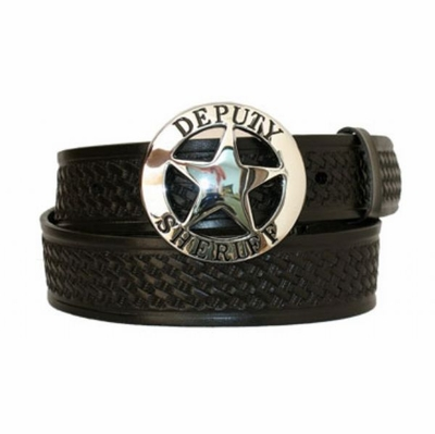 "3284 Deputy Sheriff Basket-weave Full Grain Leather Belt - 1 1/2"" wide"
