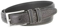 "3287 Genuine Bison Leather Dress Belt - 1 1/8"" wide - BLACK"