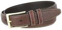 "3288 Genuine Bison Leather Dress Belt - 1 1/8"" Wide - BROWN"