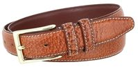 "3289 Genuine Bison Leather Dress Belt - 1 1/8"" Wide - TAN"