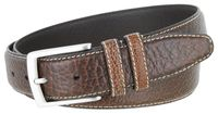 "3291 Genuine Bison Leather Dress Belt - 1 3/8"" Wide - BROWN"