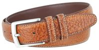 "3292 Genuine Bison Leather Dress Belt - 1 3/8"" Wide - TAN"