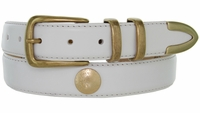 """3334 Genuine Leather Office Dress Belt with Gold Indian Head Coin Conchos 1-1/8"""" wide"""