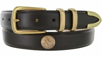 """3335 Genuine Leather Office Dress Belt with Brass Eagle Coin Conchos 1-1/8"""" wide"""