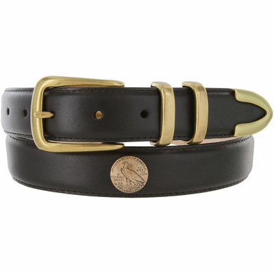 "3335 Genuine Leather Office Dress Belt with Brass Eagle Coin Conchos 1-1/8"" wide"