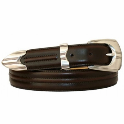 "3379 Center Stitch Leather Dress Belt - 1 1/8"" wide - BROWN"