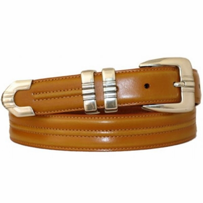 "3381 Center Stitched Leather Dress Belt - 1 1/8"" wide"