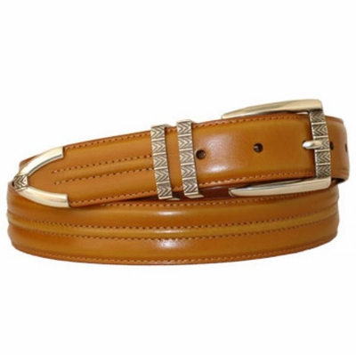 "3383 Leather Dress Belt - 1 1/8"" wide TAN"