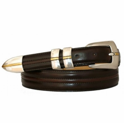 3405 Stitched Center Leather Dress Belt
