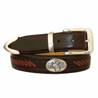 "3437 Golf Lacing Leather Dress Belt - 1 3/8"" wide"