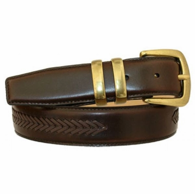 "3454 Dress Leather Belt with Matching Overlapped - 1 3/8"" wide"