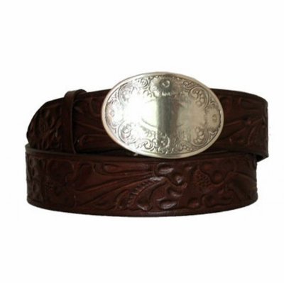 "3470 Women's Floral Embossed Western Leather Belt -  1 1/2""wide"