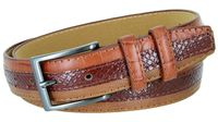 3516 Genuine Leather Belt with Alligator, Lizard and Snake Skin Embossing Office Career Dress Belt - 5 Colors Available