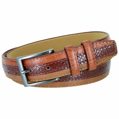 3504 Genuine Leather Belt with Alligator, Lizard and Snake Skin Embossing Office Career Dress Belt - 5 Colors Available