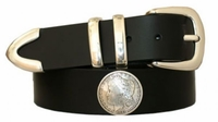 "3503 Morgan Silver Coin 1881 Replica Concho Leather Belt - 1 1/2"" wide"