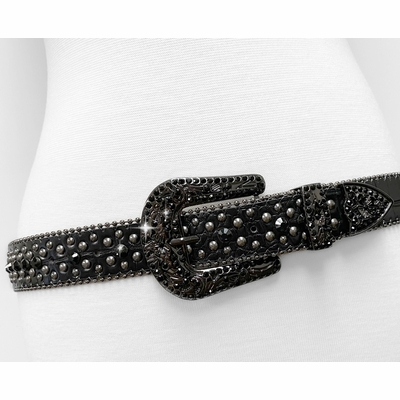 "35116 Women's Belts Rhinestone Belt Fashion Western Cowgirl Bling Studded Design Leather Belt 1-3/8""(35mm) wide - BLACK"