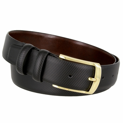 3512 Carbon Fiber Style Leather Casual Dress Belt Polished Gold Plated Buckle