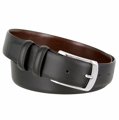 3512 Carbon Fiber Style Leather Casual Dress Belt Polished Nickel Plated Buckle