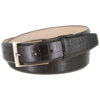 "3513 Genuine Italian Calfskin Alligator Embossed Leather Casual Dress Belt  1-3/8"" Wide - Black"