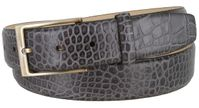 "3513 Genuine Italian Calfskin Alligator Embossed Leather Casual Dress Belt  1-3/8"" Wide - Gray"
