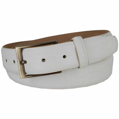 "3513 Genuine Italian Calfskin Alligator Embossed Leather Casual Dress Belt  1-3/8"" Wide - White"